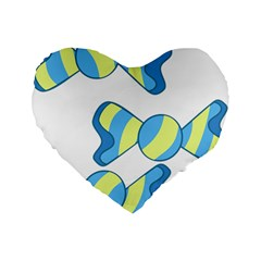 Candy Yellow Blue Standard 16  Premium Heart Shape Cushions by Alisyart