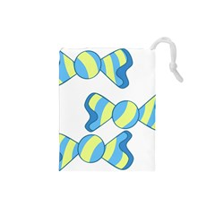 Candy Yellow Blue Drawstring Pouches (small)  by Alisyart