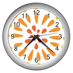Circle Orange Wall Clocks (silver)  by Alisyart