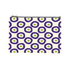 Circle Purple Green White Cosmetic Bag (large)  by Alisyart