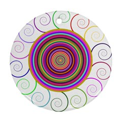 Abstract Spiral Circle Rainbow Color Ornament (round)