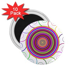 Abstract Spiral Circle Rainbow Color 2 25  Magnets (10 Pack)  by Alisyart