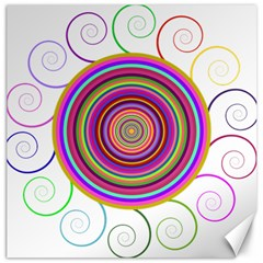 Abstract Spiral Circle Rainbow Color Canvas 20  X 20   by Alisyart