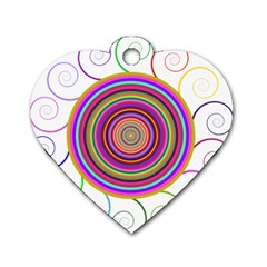 Abstract Spiral Circle Rainbow Color Dog Tag Heart (two Sides) by Alisyart
