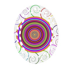 Abstract Spiral Circle Rainbow Color Oval Filigree Ornament (two Sides) by Alisyart