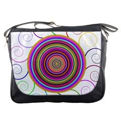 Abstract Spiral Circle Rainbow Color Messenger Bags by Alisyart