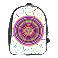 Abstract Spiral Circle Rainbow Color School Bags (xl)  by Alisyart