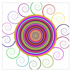 Abstract Spiral Circle Rainbow Color Large Satin Scarf (square) by Alisyart