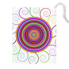Abstract Spiral Circle Rainbow Color Drawstring Pouches (xxl) by Alisyart