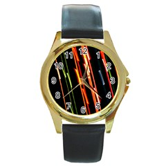 Colorful Diagonal Lights Lines Round Gold Metal Watch by Alisyart