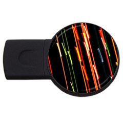 Colorful Diagonal Lights Lines Usb Flash Drive Round (4 Gb) by Alisyart