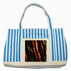 Colorful Diagonal Lights Lines Striped Blue Tote Bag by Alisyart