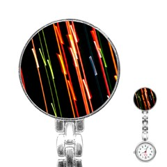 Colorful Diagonal Lights Lines Stainless Steel Nurses Watch by Alisyart