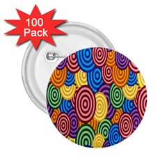Circles Color Yellow Purple Blu Pink Orange Illusion 2 25  Buttons (100 Pack)  by Alisyart