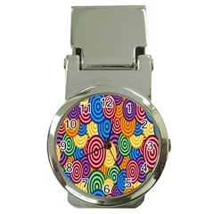 Circles Color Yellow Purple Blu Pink Orange Illusion Money Clip Watches by Alisyart