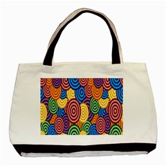 Circles Color Yellow Purple Blu Pink Orange Illusion Basic Tote Bag by Alisyart
