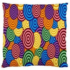 Circles Color Yellow Purple Blu Pink Orange Illusion Large Cushion Case (two Sides) by Alisyart