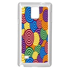 Circles Color Yellow Purple Blu Pink Orange Illusion Samsung Galaxy Note 4 Case (white) by Alisyart