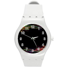 Colorful Light Frame Line Round Plastic Sport Watch (m) by Alisyart