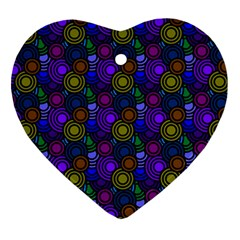 Circles Color Yellow Purple Blu Pink Orange Ornament (heart) by Alisyart