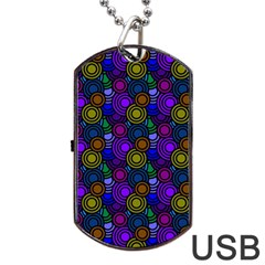 Circles Color Yellow Purple Blu Pink Orange Dog Tag Usb Flash (two Sides) by Alisyart