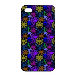 Circles Color Yellow Purple Blu Pink Orange Apple Iphone 4/4s Seamless Case (black) by Alisyart