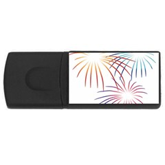 Fireworks Orange Blue Red Pink Purple Usb Flash Drive Rectangular (4 Gb) by Alisyart