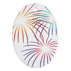 Fireworks Orange Blue Red Pink Purple Oval Ornament (two Sides) by Alisyart