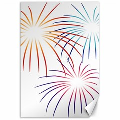 Fireworks Orange Blue Red Pink Purple Canvas 12  X 18   by Alisyart