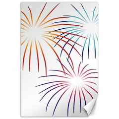Fireworks Orange Blue Red Pink Purple Canvas 24  X 36  by Alisyart