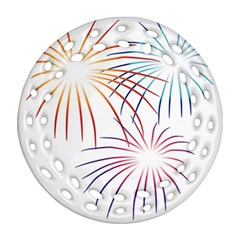 Fireworks Orange Blue Red Pink Purple Ornament (round Filigree) by Alisyart