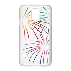 Fireworks Orange Blue Red Pink Purple Samsung Galaxy S5 Case (white) by Alisyart