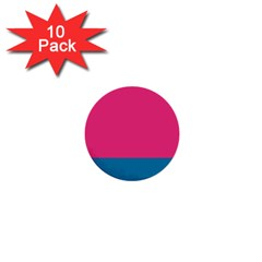 Flag Color Pink Blue 1  Mini Buttons (10 Pack)  by Alisyart