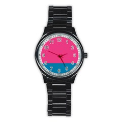 Flag Color Pink Blue Stainless Steel Round Watch by Alisyart