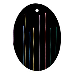 Falling Light Lines Color Pink Blue Yellow Oval Ornament (two Sides) by Alisyart
