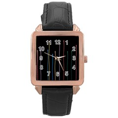 Falling Light Lines Color Pink Blue Yellow Rose Gold Leather Watch  by Alisyart