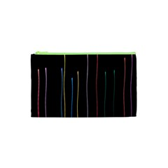 Falling Light Lines Color Pink Blue Yellow Cosmetic Bag (xs) by Alisyart