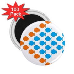 Fish Arrow Orange Blue 2 25  Magnets (100 Pack)  by Alisyart