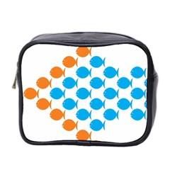 Fish Arrow Orange Blue Mini Toiletries Bag 2 Side by Alisyart