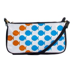 Fish Arrow Orange Blue Shoulder Clutch Bags by Alisyart