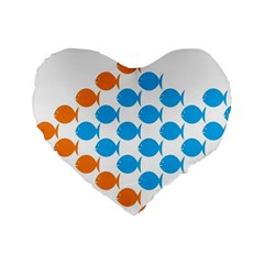 Fish Arrow Orange Blue Standard 16  Premium Heart Shape Cushions by Alisyart
