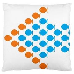 Fish Arrow Orange Blue Standard Flano Cushion Case (two Sides) by Alisyart