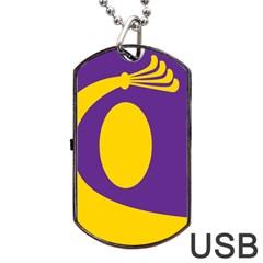 Flag Purple Yellow Circle Dog Tag Usb Flash (one Side) by Alisyart