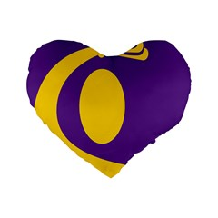 Flag Purple Yellow Circle Standard 16  Premium Heart Shape Cushions by Alisyart