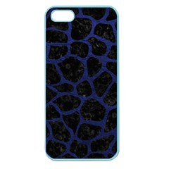 Skin1 Black Marble & Blue Leather (r) Apple Seamless Iphone 5 Case (color) by trendistuff