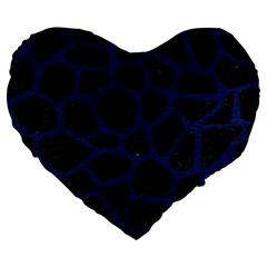 Skin1 Black Marble & Blue Leather (r) Large 19  Premium Flano Heart Shape Cushion by trendistuff