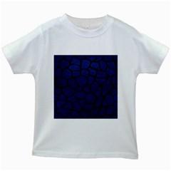 Skin1 Black Marble & Blue Leather Kids White T Shirt by trendistuff