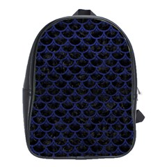 Scales3 Black Marble & Blue Leather School Bag (large) by trendistuff
