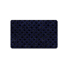 Scales2 Black Marble & Blue Leather Magnet (name Card) by trendistuff