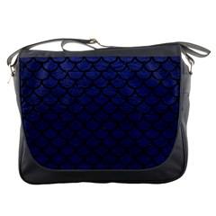 Scales1 Black Marble & Blue Leather (r) Messenger Bag by trendistuff